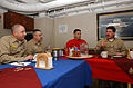 US Navy 050114-N-6363M-043 Master Chief Petty Officer of the Navy Terry Scott holds a meeting with the Command Master Chiefs assigned to USS Harry S. Truman (CVN 75) and embarked Carrier Air Wing Two (CVW-2).jpg