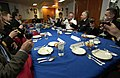 US Navy 050701-N-9851B-027 Commanding Officer, USS Curtis Wilber (DDG 54), Cmdr. John T. Lauer III, toasts the commander of the Russian Pacific Fleet, Adm. Federov, in the wardroom.jpg