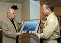 US Navy 060516-N-3396B-001 Rear Adm. Ray Spicer presents a goodwill gift to Bulgarian Minister of Defense the Honorable Vesselin Bliznakov.jpg