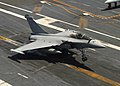 US Navy 070723-N-0916O-118 A French Rafale M combat aircraft from the French nuclear-powered aircraft carrier Charles De Gaulle lands on the flight deck of the nuclear-powered aircraft carrier USS Enterprise (CVN 65).jpg