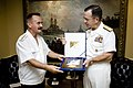 US Navy 070824-N-0696M-176 Chief of Naval Operations Adm. Mike Mullen presents Adm. Vladimir Masorin, commander in chief of the Russian Navy, with a commemorative plaque at the conclusion of an office call at the Pentagon.jpg