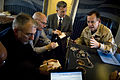 US Navy 071024-N-0696M-536 Chairman of the Joint Chiefs of Staff, Adm. Mike Mullen answer questions during a media availability aboard his plane returning from a two-day tour of Army bases.jpg