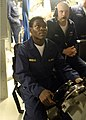 US Navy 080624-N-1841C-058 Midshipman 3rd Class Rico Jordan, a student at Savannah State University, acts as helmsman aboard the Los Angeles-class fast-attack submarine USS Newport News (SSN 750).jpg