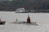 US Navy 091202-N-2214H-017 Sailors man the rails as USS Miami (SSN 755) transits the Thames River