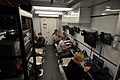 US Navy 100126-N-1831S-008 Media members transmit video, photos, and news stories of the relief efforts in Haiti from a media trailer aboard the multi-purpose amphibious assault ship USS Bataan (LHD 5).jpg