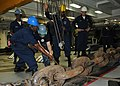 US Navy 100719-N-0569K-087 Sailors work on the anchor chain during a precision anchorage in the foc'sle aboard USS Enterprise (CVN 65).jpg