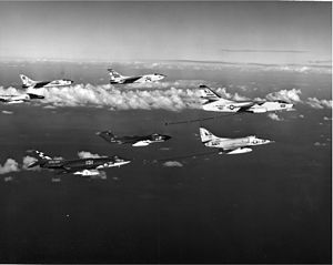 Supermarine Scimitar - An 803 NAS Scimitar from HMS ''Hermes'' with US Navy aircraft over the Mediterranean Sea