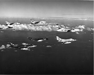 Supermarine Scimitar - An 803 NAS Scimitar from HMS Hermes with US Navy aircraft over the Mediterranean Sea
