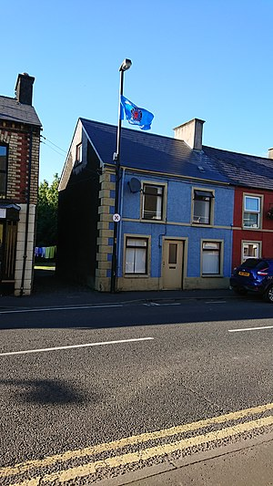 Ulster Young Militants - A UYM flag flying in the rural village of Broughshane, County Antrim.