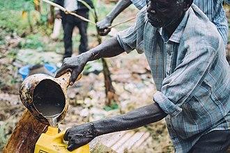 Banana beer - Making local banana beer in Western Uganda