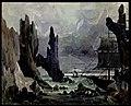 Una riva circondata da rocce, bozzetto di Tito Azzolini per L'Olandese Volante (1878) - Archivio Storico Ricordi ICON002164.jpg