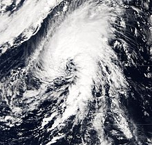 View of the storm from Space on October 4, 2005. Though located over the open Atlantic Ocean, the Azores are visible on the northern side of the image.