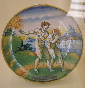 Plate depicting Adam and Eve, maiolica, from U...