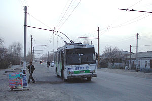 Trolleybuses in Urgench - Škoda 14Tr 001 in Urgench on the line to the depot (2010).