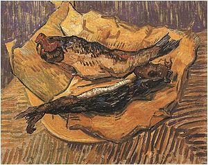 Bloater (herring) - Bloaters on yellow paper, van Gogh, 1889