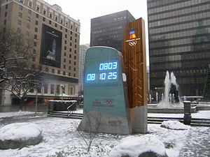 The clock in Downtown Vancouver displaying a c...