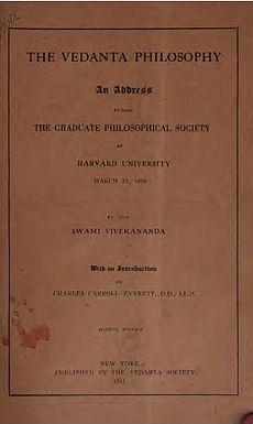 Vedanta Philosophy An-adreso antaŭ la Diplomiĝinto Filozofia Socio 1901 kovras page.jpg