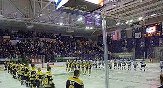 Verizon Center (Mankato, Minnesota) - Inside the Verizon Center Ice Arena before a NCAA Division 1 Hockey Game between the Minnesota State Mavericks and the Michigan Tech Huskies men's teams