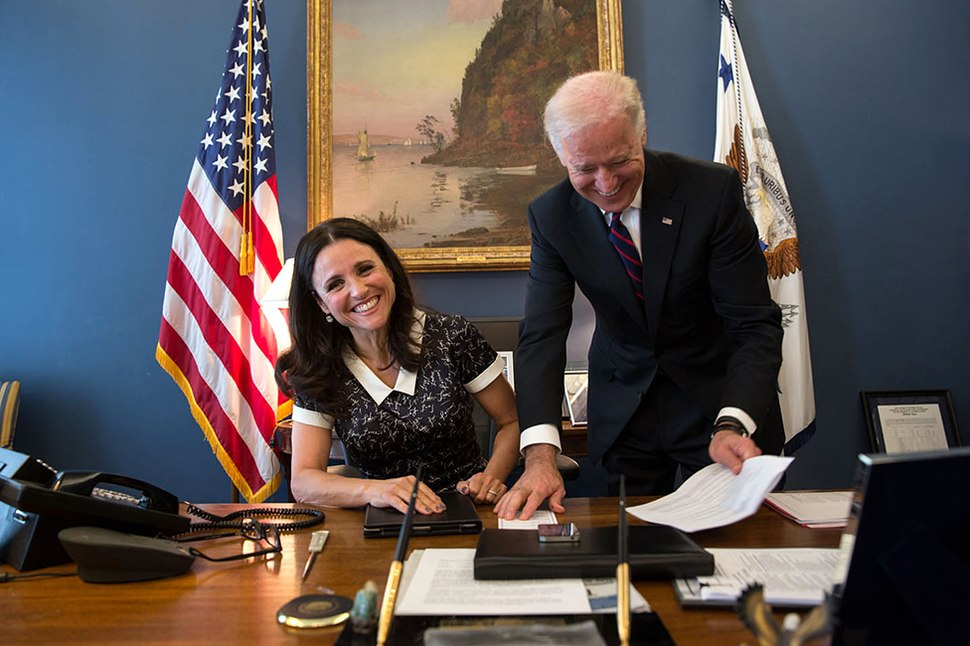 Vice President Joe Biden jokes with Julia Louis-Dreyfus
