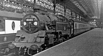 BR Standard Class 4 2-6-4T - 80085 at London Victoria Station, 1954.