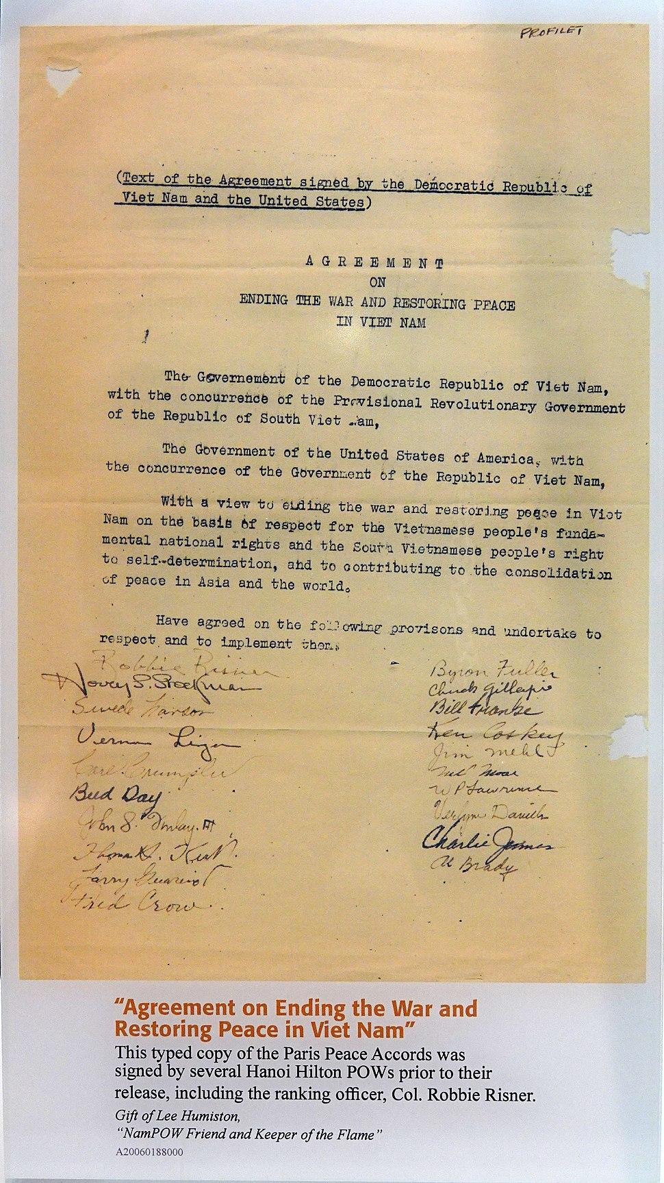 Vietnam Peace Treaty 1973