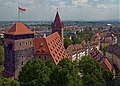 View of the Pentagonal tower, the Imperial Stables and Luginsland from the Nuremberg Castle. Germany.jpg