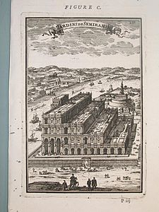 View of the gardens of Semiramis, Description de L'Universe (Alain Manesson Mallet, 1683).jpg