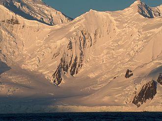 Vihren Peak - Vihren Peak from Bransfield Strait, with Vitosha Saddle to the left and Magura Glacier in the foreground.