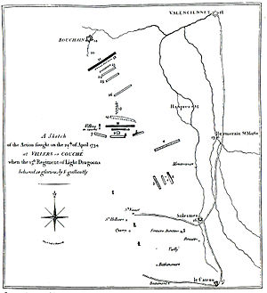 Battle of Villers-en-Cauchies - Contemporary map of the action at Villers-en-Cauchies. See file description for key to numbers