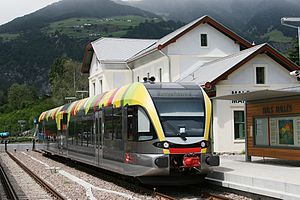 Stadler GTW - Third Generation: Stadler GTW 2/6 (ATR 100) diesel electric for Societá Automobilistica Dolomiti (SAD), used on the Ferrovia della Val Venosta, at Mals station in Italy.