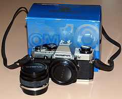 Vintage Olympus OM-10 35mm SLR Film Camera, Made In Japan, Introduced In 1979, With Electronic Control, Automatic Exposure And Focal Plane Shutter (16205334207).jpg