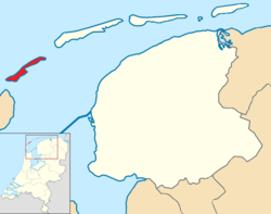Highlighted position of Vlieland in a municipal map of Friesland