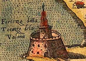Vlorë - The tower of the medieval fortress of Vlorë in 1573.