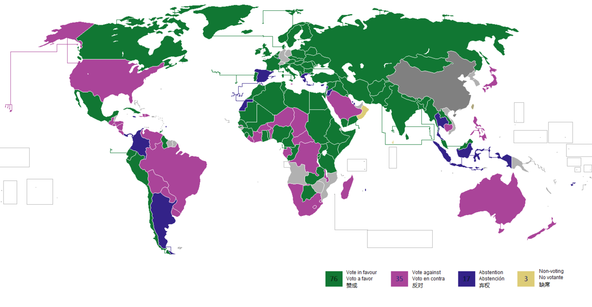 Voting situation in the UN general assembly respect to resolution 2758 (1971). Voting res 2758.png