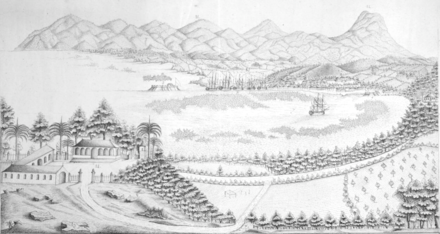 Port-au-Prince and surroundings at the start of the 19th century Vue de Port-au-Prince et ses environs ca1800 BPL m8805.png