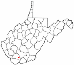Location of Mullens, West Virginia