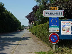 Wahagnies (Nord, Fr) city limit sign.JPG