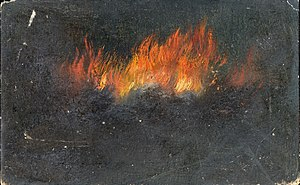 Walter Hunt Zeppelin in flames.jpg