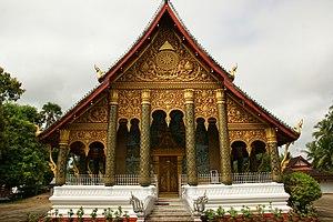 Wat - Front of Wat Mahathat in Luang Prabang, Laos