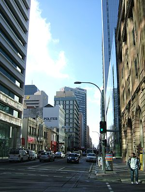 Waymouth Street, Adelaide - Waymouth Street, looking east from Bentham Street towards King William Street.