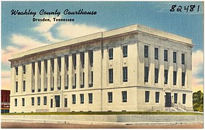 Weakley County, Tennessee - Image: Weakley County Courthouse, Dresden, Tennessee (82481)