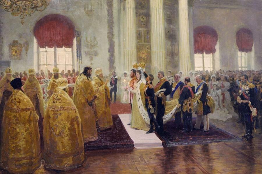 Wedding of Nicholas II and Alexandra Feodorovna by Ilja Repin (1894, Russian museum)