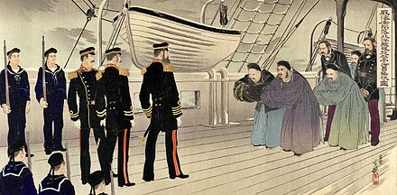 Revisionist depiction of Chinese delegation, led by Admiral Ding Ruchang and their foreign advisors, boarding the Japanese vessel to negotiate the surrender with Admiral Ito Sukeyuki after the Battle of Weihaiwei. In reality, Ding had committed suicide after his defeat and never surrendered. Weihaiwei surrender.jpg