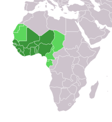 Map of the African continent, with green highlights around the lower western peninsular