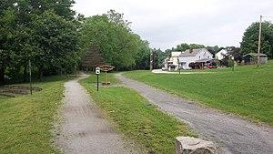 Westmoreland Heritage Trail - The Westmoreland Heritage Trail (left) meets the West Penn Trail in Saltsburg, PA