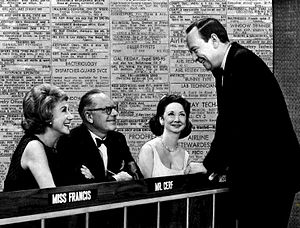 Arlene Francis - Francis (left) with Cerf, Kilgallen, and Daly on What's My Line? in 1965.