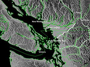 Whatcom Trail - Solid line is Whatcom Trail, dotted line is Skagit Trail Only settlements extant in 1858 are shown