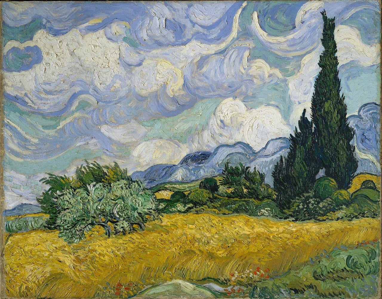 Vincent Van Gogh: Campo de trigo con cipreses (1889).