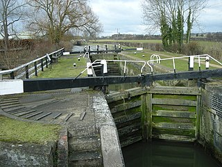 Whilton Locks flight of seven locks on the Grand Union Canal near Daventry, in the county of Northamptonshire, England