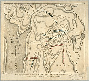 Battle of White Plains - A 1796 map showing the strategies of the opposing armies.